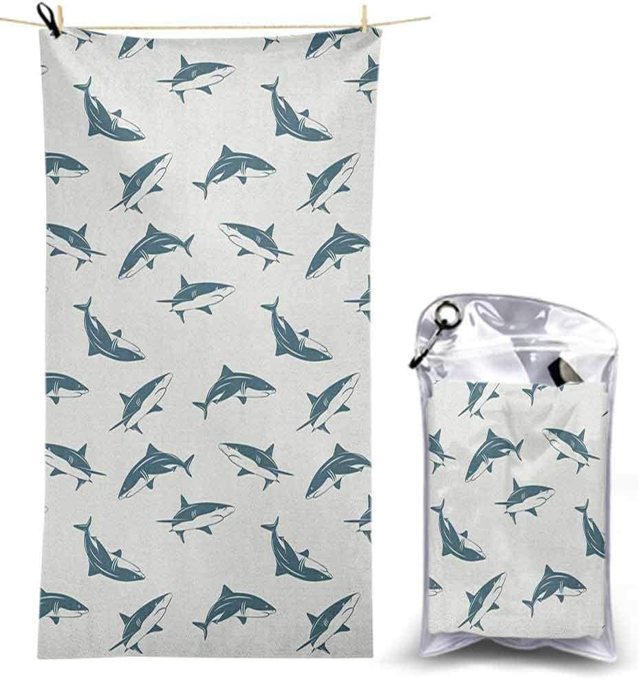 Ahuimin Microfiber Beach Towels Lightweight Quick Dry Towel, Pattern with Sharks Swimming to Different Directions Monochromic Sea 4.6' x 2.3' Sand Free Towels for Camping