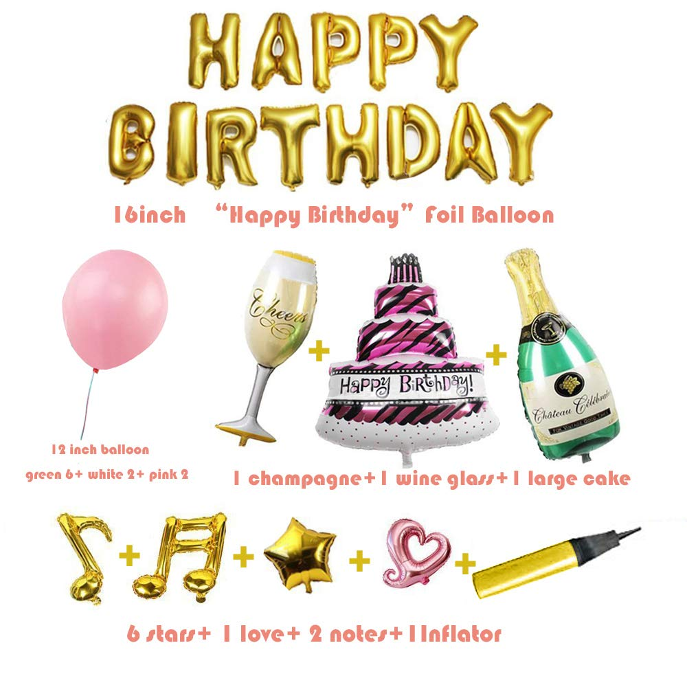 Rose-Go Include 20 Latex 1 Inflator 2 Love Happy Birthday Banner Decorations Set Easy to Hang for Party Extra Large Banner 1 Star Balloons Supplies Vaxiuja Rose Gold Party Decorations