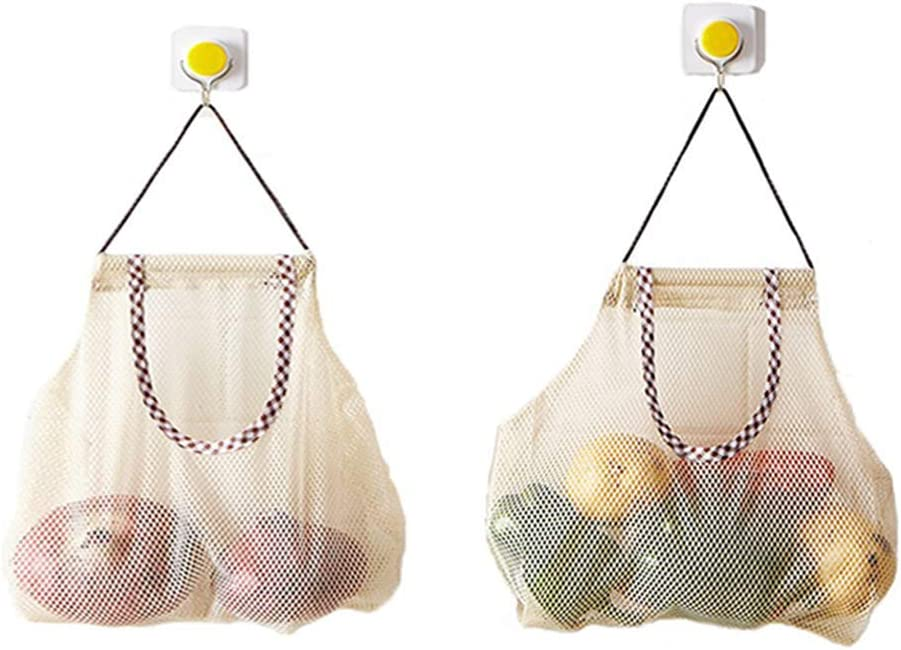 2pcs Reusable Hanging Storage Mesh Bags - Hatisan Durable & Strong Fruit and Vegetable Mesh Bags/Pulling resistance Storage Tote Bags for Garlics, Potatoes, Onions or Garbage Bag-Clear