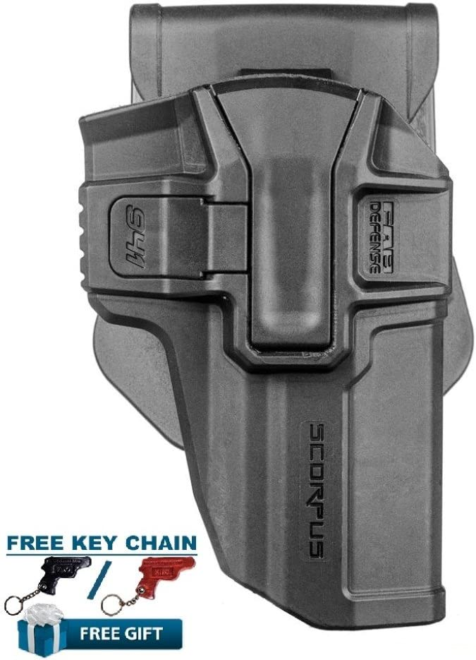 Jericho 941F Nivel 1 Funda Giratoria Pala+Cinturón Diestro, de Fab Defense + Llavero en forma de pistola de piel (Negro)