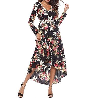 c125bea4f2f8 Yanhoo Herbst Damen Langarm Point Print Kleid Bandage Tiefe V Ausschnitt Sexy  Spitze Blumen Drucken Langes