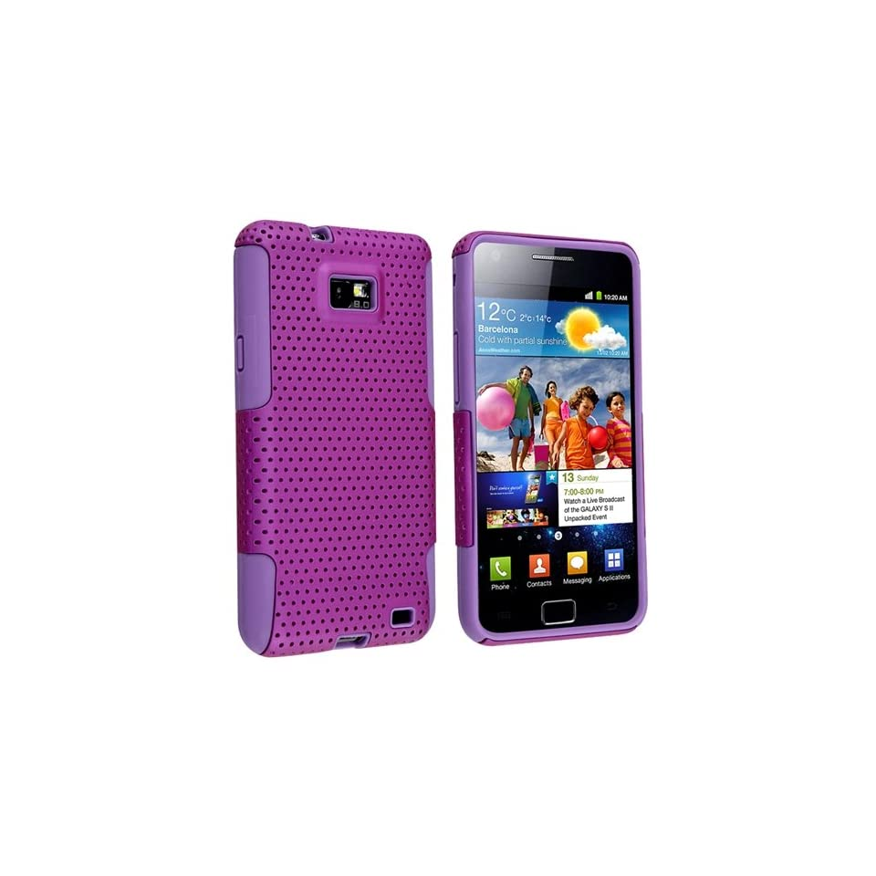 eForCity Purple Mesh Snap on Case w/Silicone + FREE Anti Glare LCD Screen Protector Compatible with Samsung? Galaxy S II i9100