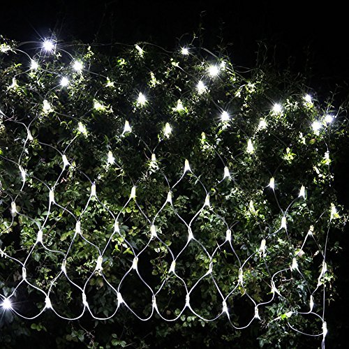 Ollny LED Fairy String Decorative Lights 9.8ft x 6.6ft 204 LEDs Net Mesh Tree-wrap Lights Low Voltage 8 Modes for Christmas Wedding Garden Decorations Home Garden Pure White