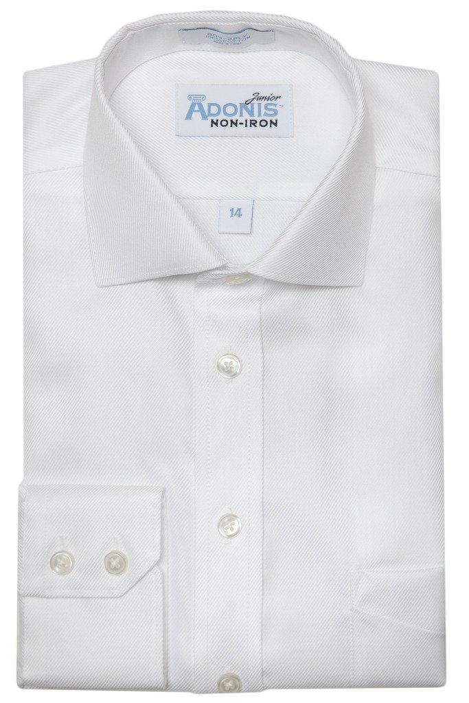 Adonis Shirts Inc. Boys 100% Cotton Non Iron White-On-White 'Bold Twill' Button Cuff Dress Shirt
