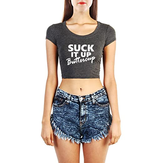 bbfa3168 Image Unavailable. Image not available for. Color: Womens Suck It Up  Buttercup GYM Yoga Fitness Workout Crop Tops T Shirts