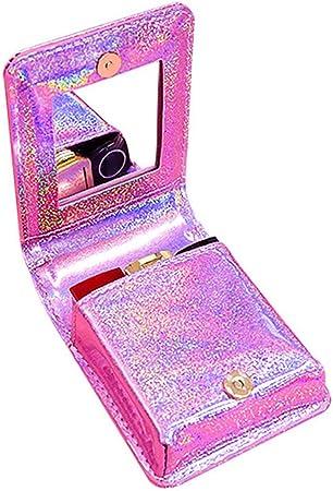 Unicoco - Estuche para lápices labiales, diseño de corazón de PVC, Bolsa de Maquillaje con Espejo, Bolsa de Maquillaje portátil: Amazon.es: Hogar