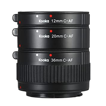 KOOKA KK-C68P AF Kit Tubo de Marco Extensión para Canon (12mm/20mm ...