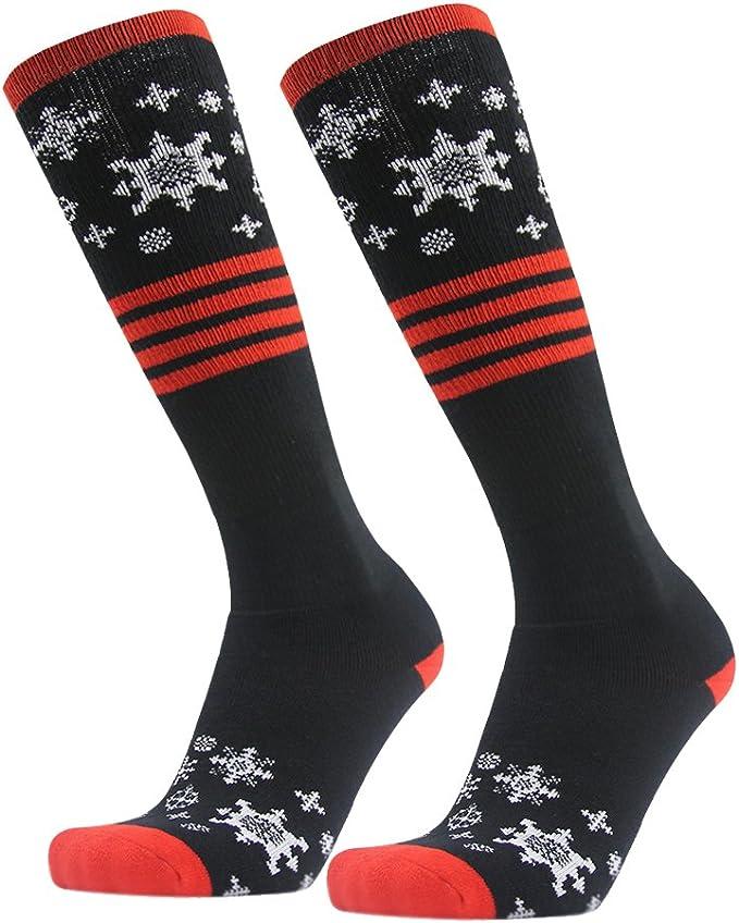 Unisex Skisocken Kniestr/ümpfe mit Spezialpolsterung Winter Warm atmungsaktive Snowboard socken Herren Damen 1 Paar 43-46, Gr/ün