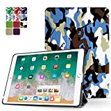 TNP iPad Mini 4 Case (Camouflage Blue & Black) - Ultra Slim Lightweight Folio Smart Cover Stand with Auto Sleep Wake Feature and Hard Rubberized Back for Apple iPad Mini 4 7.9 Inch Tablet 2015 Release