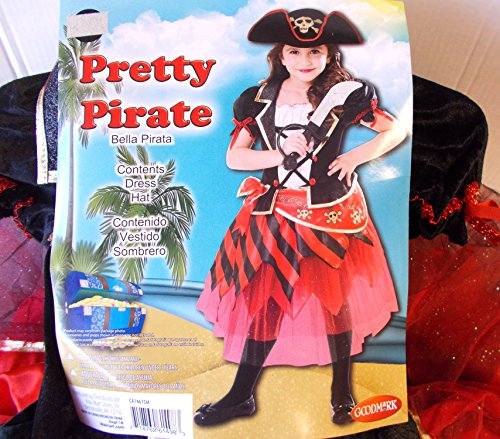 K-mart Pretty Pirate Red Black Child Costume Hat 10-12 NIP