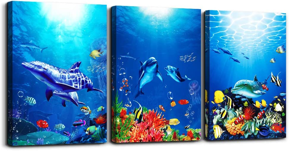 Amazon Com Blue Ocean Fish 3 Pieces Framed Wall Art For Living Room Bathroom Wall Decoration Canvas Print Children S Bedroom Wall Decor Office Kitchen Home Decoration Underwater World Watercolor Painting Posters Prints