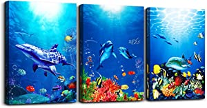 blue ocean fish 3 Pieces Framed Wall Art for Living Room Bathroom Wall Decoration Canvas Print Children's Bedroom Wall decor Office Kitchen Home Decoration Underwater World Watercolor Painting