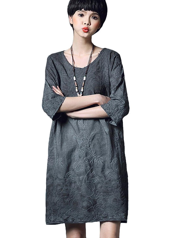 MatchLife Damen Embroidery Freizeitkleider 3/4-Arm Kleider