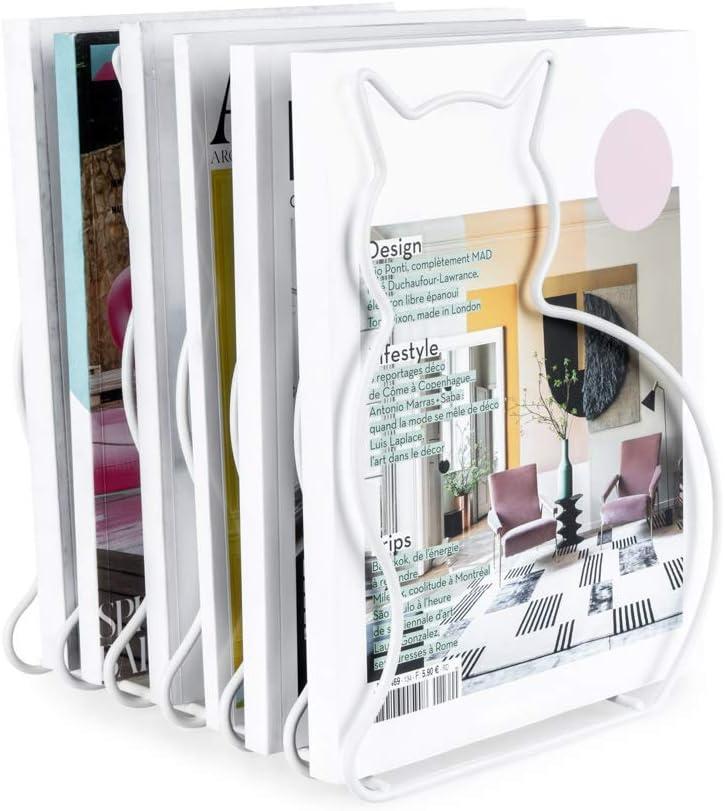 Kataloge oder Tageszeitungen Stahl balvi Zeitschriftenst/änder Cat Farbe Wei/ß In Form Einer Katze Gro/ße Kapazit/ät f/ür Zeitschriften