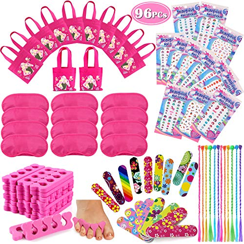 Sleepover Party Ideas (Tacobear 96PCS Spa Party Supplies for Girls Multiple Spa Party Favors for Kids Including 12 Tote Bags, 24 Emery Boards,12 Colored Hair Clip Braids, 24 Toe Separators, 12 Pink Spa)