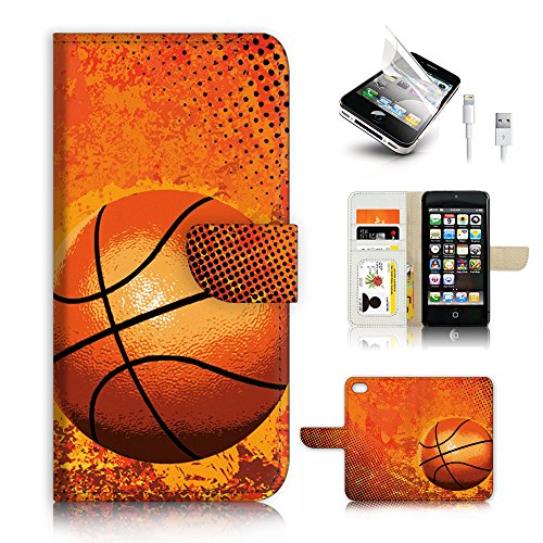 ( For iPhone 5 5S / iPhone SE ) Flip Wallet Case Cover & Screen Protector & Charging Cable Bundle! A4283 Basketball