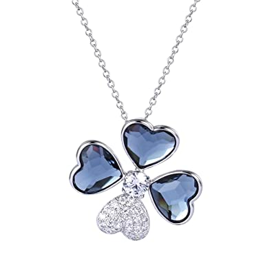 c8146377b0b4cc Image Unavailable. Image not available for. Color  Four Leaf Clover  Crystals from Swarovski Pendant ...