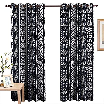 Qenuanmpo Living Room Curtains African,Arabesque Inspirations Meet with African Country Art Design Vertical Borders,Cadet Blue White,Adjustable Tie Up Shade Rod Pocket Curtain