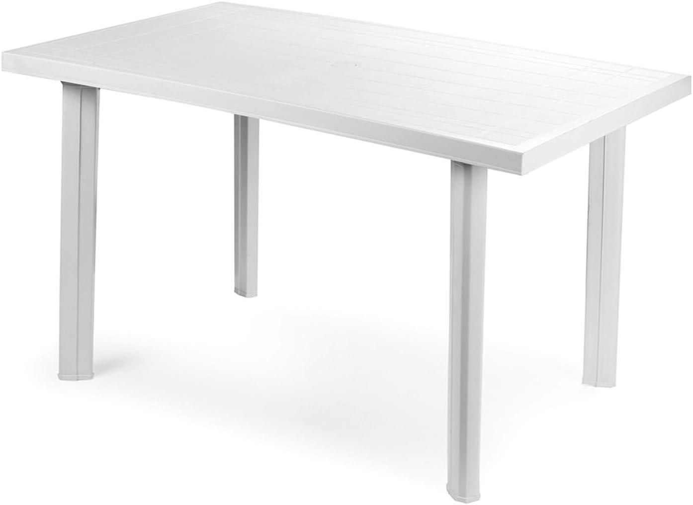 Bistro Mesa plástico 80 x 75 cm velo blanco rectangular Balcón ...