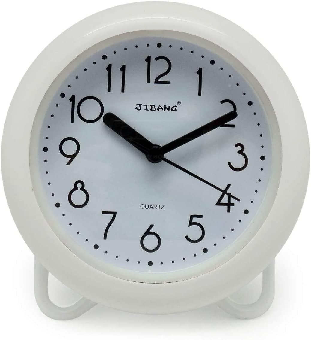 Amazon Com Jibang Waterproof Bathroom Clock Desktop Bathroom Clocks 7 Inches Silent Non Ticking Prevent Mist Wall Clock White Home Improvement