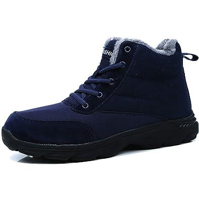 Jusefu Men Snow Boots Fur Lined Winter Boots Outdoor Sport Trekking Hiking Boots Warm Anti Slip Sneakers