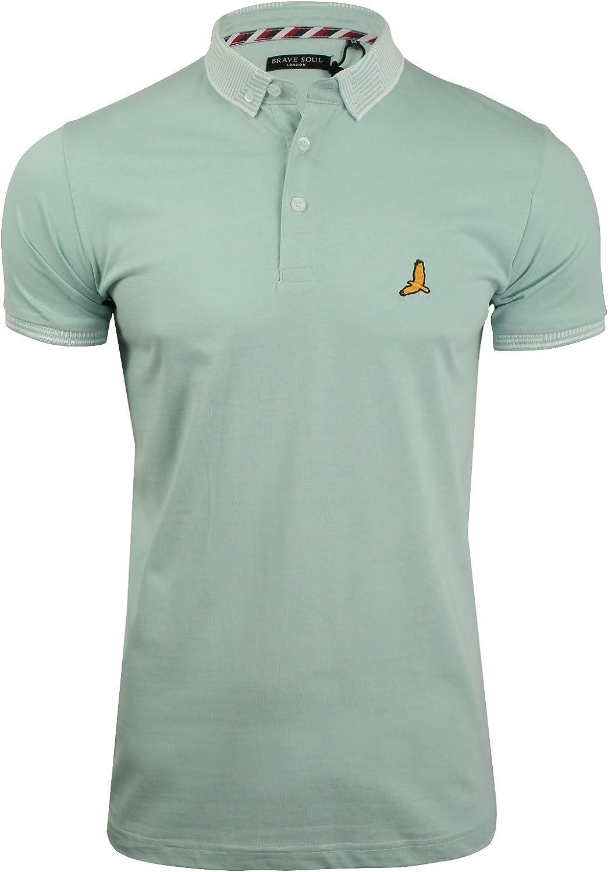 Brave Soul Mens Polo Shirt Cotton Short Sleeved