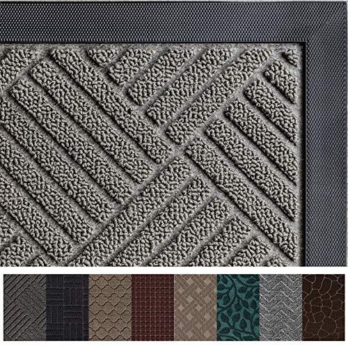 Gorilla Grip Original Durable Rubber Door Mat, 47x35, Heavy Duty Doormat for Indoor Outdoor, Waterproof, Easy Clean, Low-Profile Rug Mats for Entry, Patio, High Traffic Areas, Gray Diamond