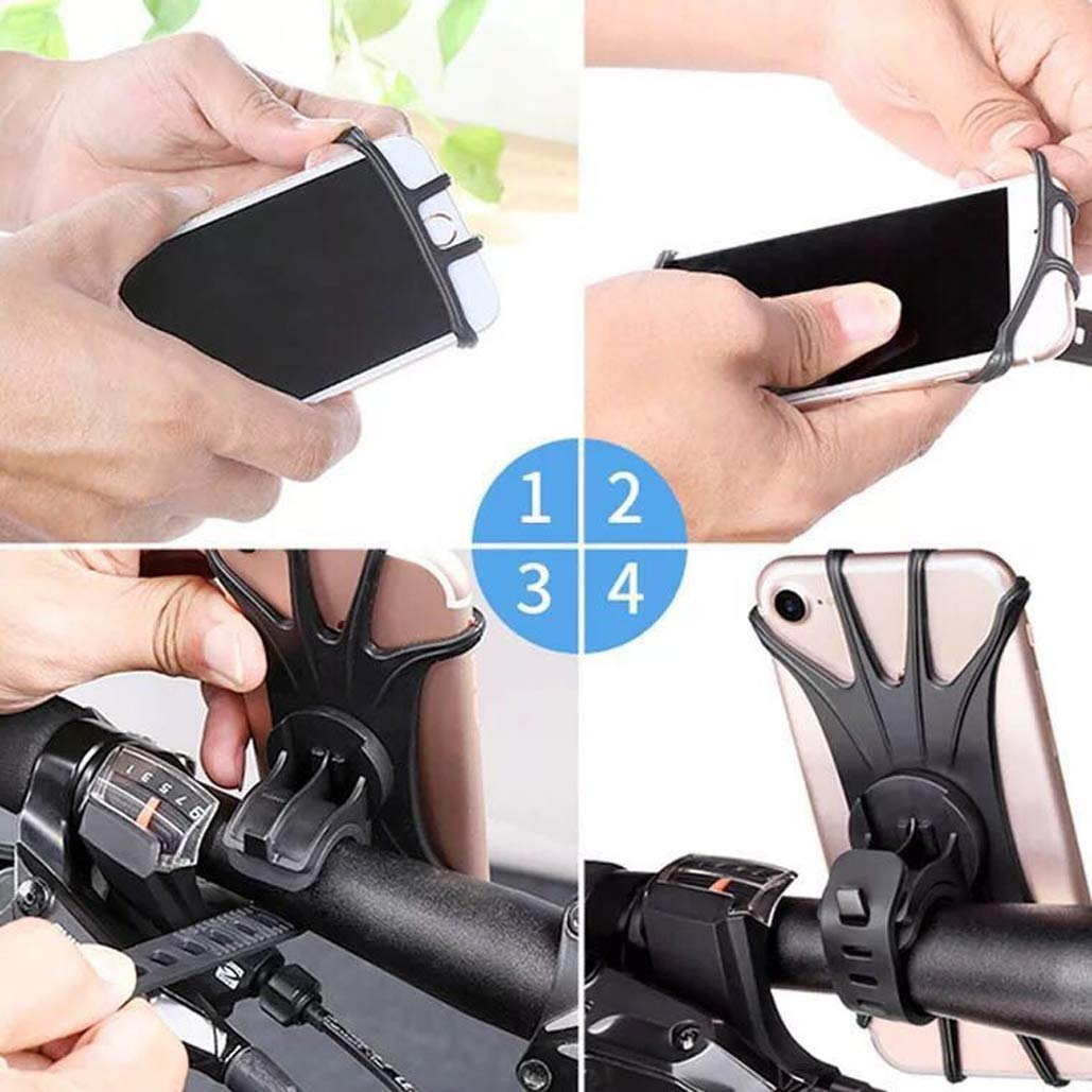 Samsung Galaxy S9//S8 Plus Adjustable Silicone Handlebar Cell Phone Holder for iPhone X//8//7//6 Plus Bike Phone Mount Universal Bicycle Phone Holder 4-6.0 Phones,360/° Rotation
