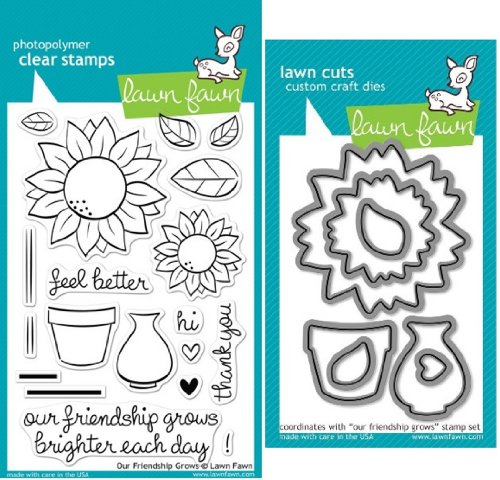 Lawn Fawn Our Friendship Grows Clear Stamp and Die Set - Includes One Each of LF556 (Stamp) & LF572 (Die) - Custom Set