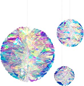 Hanging Decorations Iridescent Honeycomb Ball Foil Ceiling Hanging Flowers for Bridal Shower Wedding Birthday Frozen Theme Party Fairy Princess Rainbow Show Decoration