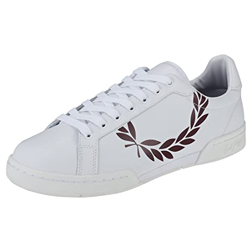 b1647d2e616a3 Fred Perry B7222 Printed Laurel Mens Trainers White Burgundy - 7 UK ...