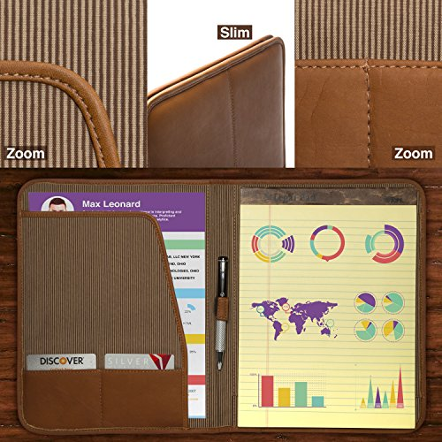 Luggage Depot USA, LLC Muiska 8.5 X 11 inch Leather Travel Business Writing Padfolio, Saddle by Muiska (Image #3)