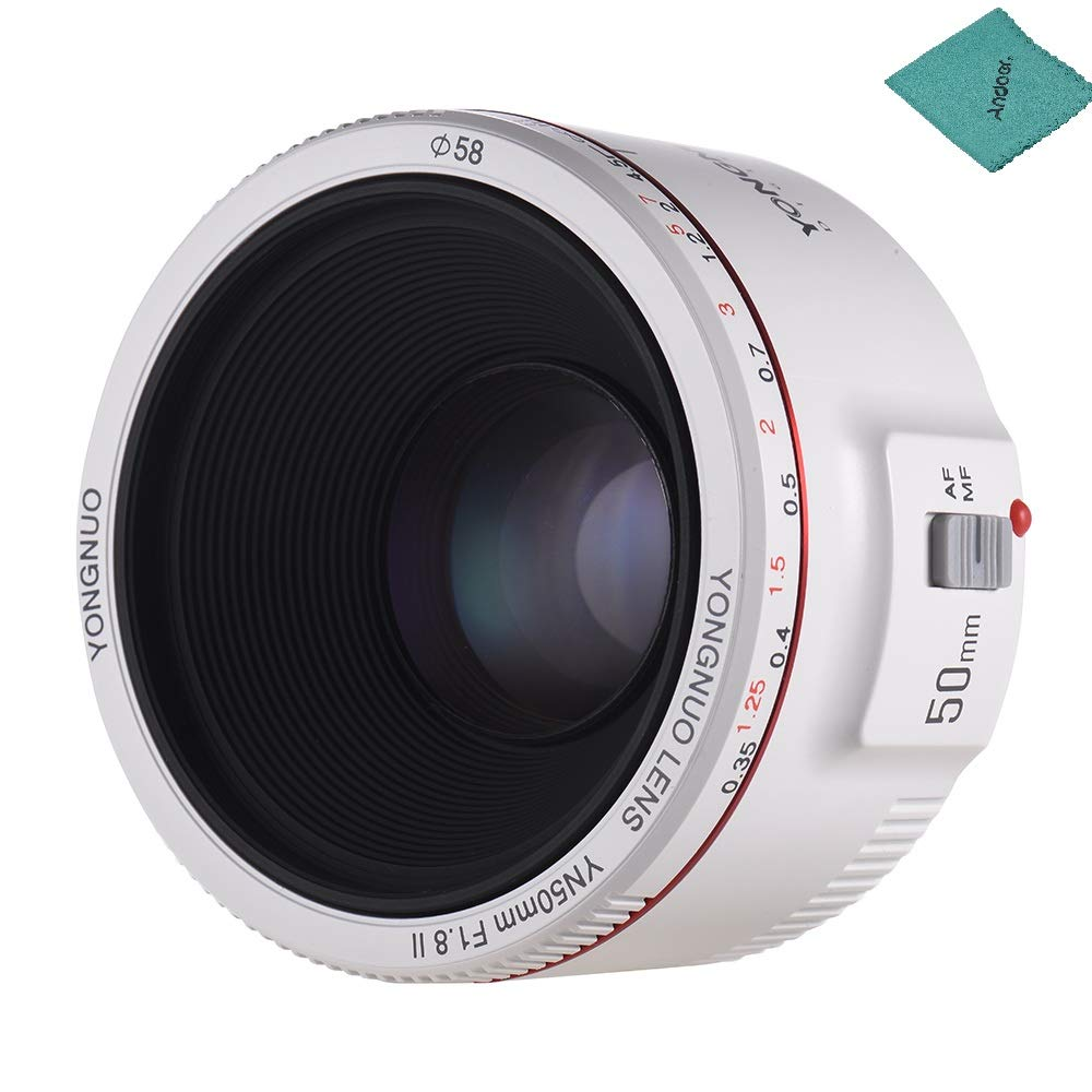 YONGNUO YN50mm F1.8 II Standard Prime Lens Large Aperture Auto Focus 0.35 Closest Focal Length for Canon EOS 70D 5D2 5D3 600D DSLR Camera with Andoer Cleaning Cloth (White)