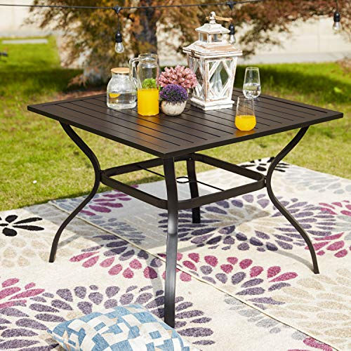 LOKATSE HOME 37 x 37 Patio Dining Table Square Outdoor Metal Steel Frame with Umbrella Hole, Black