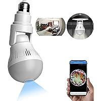 WANYANG Câmera de Segurança WiFi, 1080P Câmera de 360° Panorâmica E27 Lâmpada Câmera Espiã com visão noturna, Câmera…