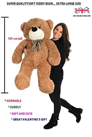 6cb48784fd89 Large Teddy Bear Big Giant XXL Cuddly Plush Easter Present Cute Toy (Light  Brown - 42