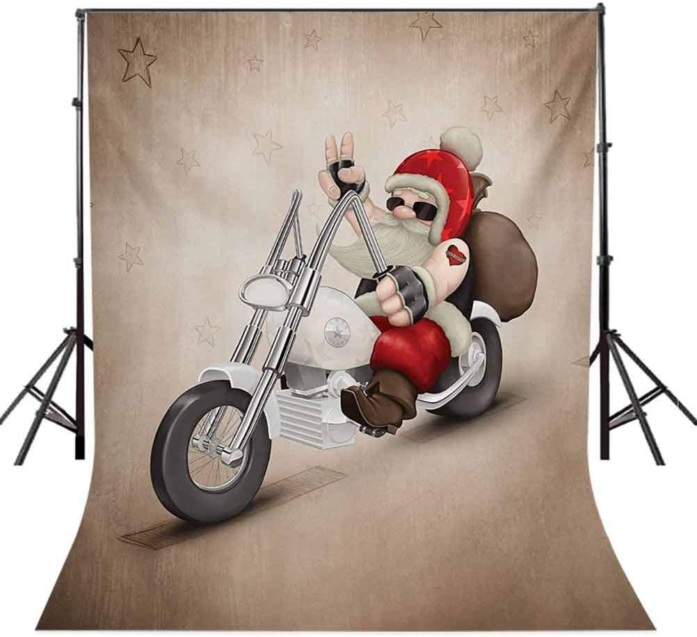Rock Grunge Santa with Heart Tattoo on Motorbike Delivery Bikie Peace Theme Background for Baby Shower Birthday Wedding Bridal Shower Party Decoration Photo Studio 6.5x10 FT Photography Backdrop