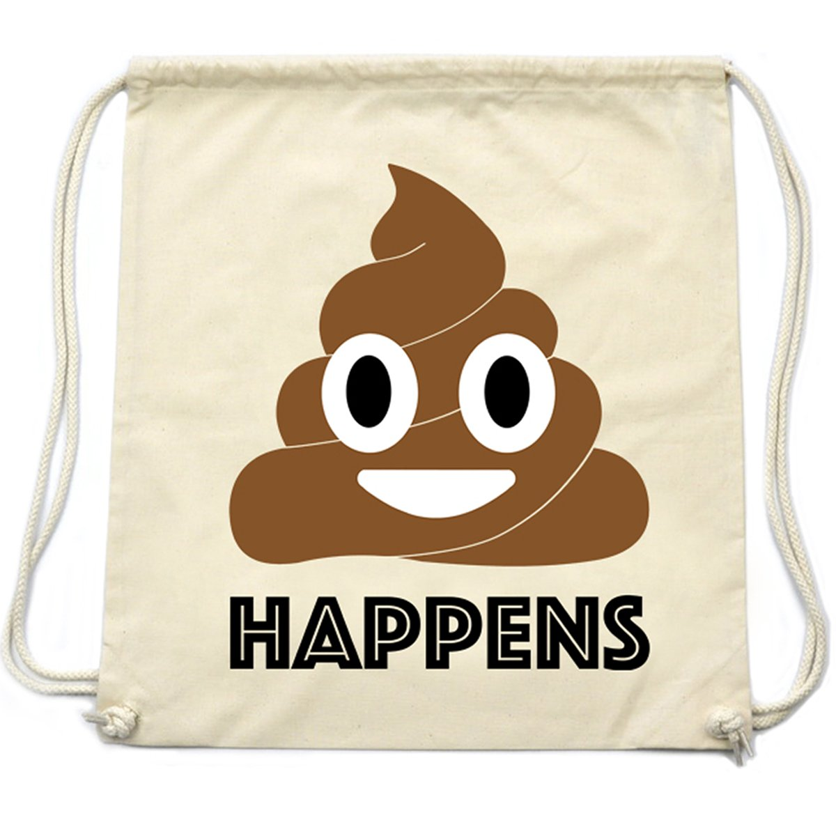 PREMYO Sac à dos cordon avec Emoji motif drôle. Sac à cordon en coton avec impression Émoticône Smiley Merde Poo. Sac de gym/sport imprimé. Sac à ficelles en tissu haut de gamme pour la route 1282