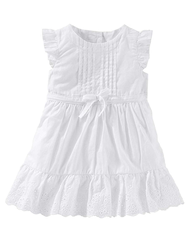 6M Oshkosh Girls 2-Piece Flutter-Sleeve Scalloped Eyelet Dress; White
