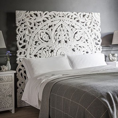 Queen Size Boho Carved Wood Bed Headboard, Handmade Wall Art Hanging From Chiang Mai, Thailand.