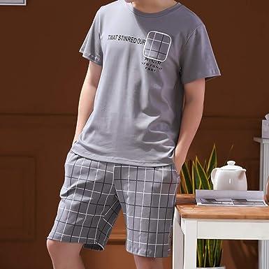 Pijama de pantalón Corto de Manga Corta para Hombre, Cuello Redondo Ropa para el hogar, Ropa Casual, Elegante y Simple Verano Conjunto de Pijama de algodón Fino para Hombre: Amazon.es: Ropa y