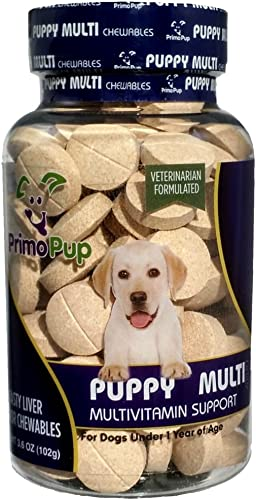 Primo Pup Puppy Multivitamin Vet Health Supports Physical Mental Wellbeing Veterinarian Formulated Easy to Digest No Artificial Colors, Flavors, or Grains Made in The USA 60 Chewables