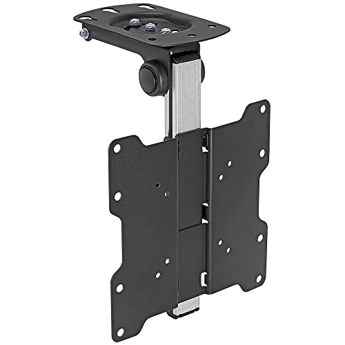 Cmple – Ceiling Cabinet TV Mount for 17-37 LED,LCD, Plasma TVs with Swiveling and Folding Mechanism – Black Silver