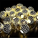 GZQ LED String Lights Christmas Globe Decorative Fairy Lamp Battery Powered for Home Wedding Birthday Party Bedroom Garden Patio Christmas Tree (Warm White) (3 M 20 LED, Silver)