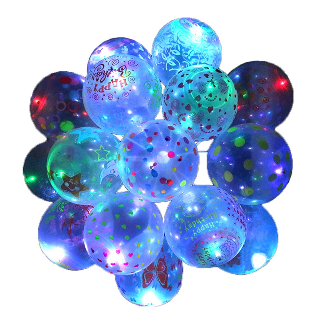 50 Pcs LED Balloons, Kicpot Transparent with Pattern Party Balloons Colorful Warm Light Glow in The Dark Party Supplies