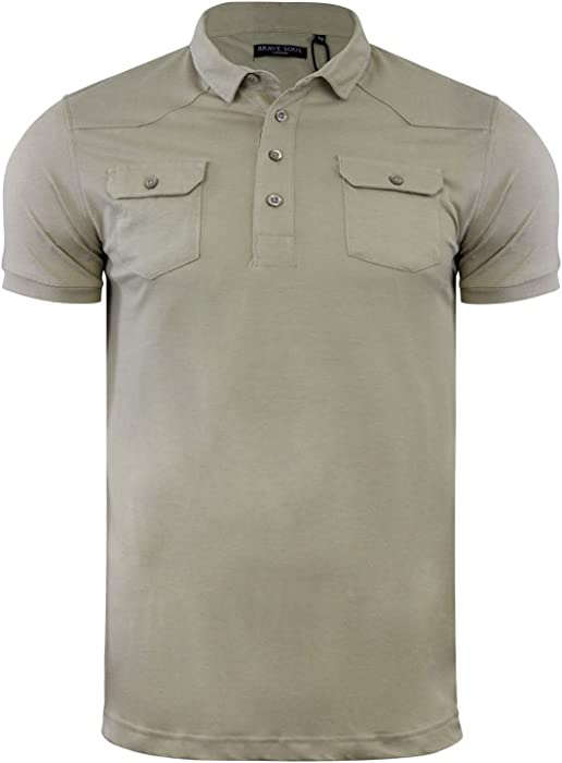 Brave Soul Frazer Mens Polo T Shirt Plain Short Sleeve Collared Casual Top