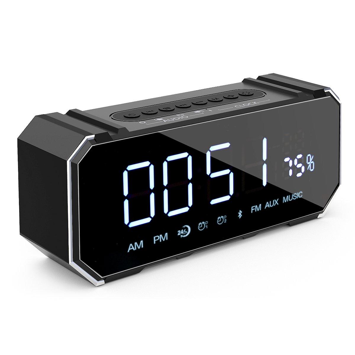 Cornmi Alarm Clock Radio, Dual Alarm Clock Bluetooth Speaker with FM Radio, LED Dimmable Mirror Surface display for Bedroom, Kitchen, Hotel, Table, Desk (Black)