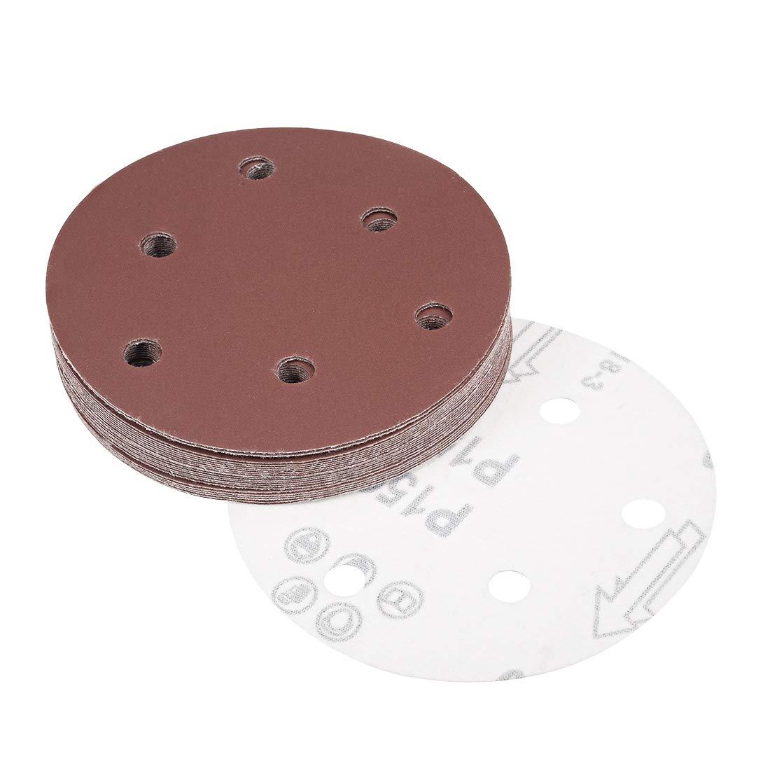 uxcell 5-Inch Sanding Disc 6 Holes 40 Grits Aluminum Oxide Flocking Back Sandpapers for Sanders 25 Pcs