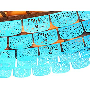 BUILD-A-BANNER // Papel Picado Party Banner, Mexican Party Decorations, Custom Fiesta Garlands Over 50 FT LONG, 5 Banner TISSUE PAPER. YOU CHOOSE COLORS (Turquoise Blue)