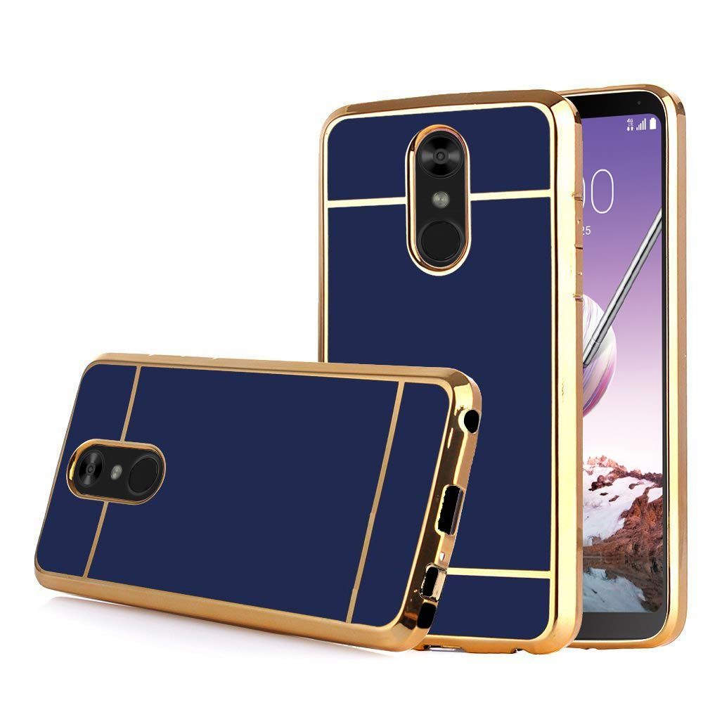 LG Stylo 4 Case, LG Stylo 4 Plus (Q710) / LG Q Stylus, Electroplate Slim Glossy Finish, Drop Protection, Shiny Luxury Case - Royal Blue Gold